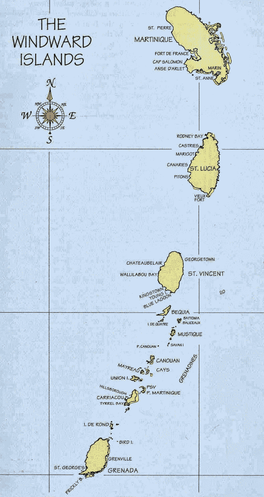 Map of the Caribbean Islands.